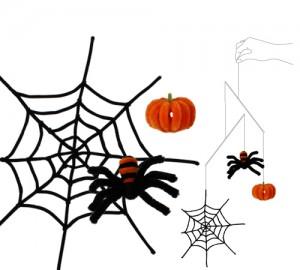 クモとクモの巣とかぼちゃ(モチーフと使用イメージ)